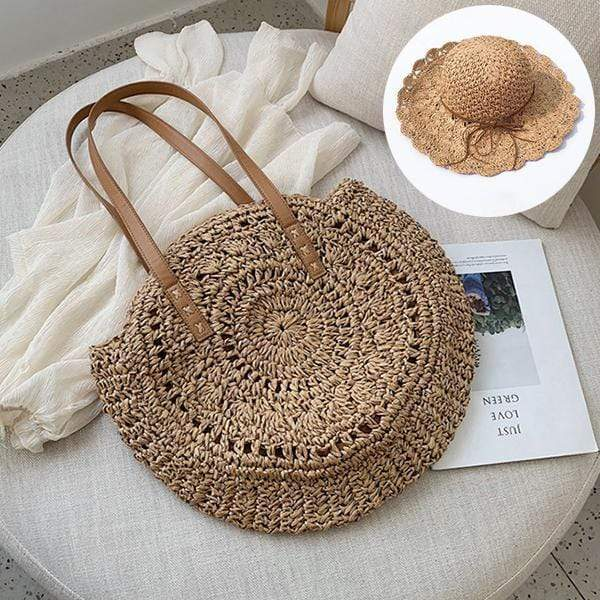 Obangbag Match / Brown Bag 02+Brown Hat Summer Hand Woven Round Straw Beach Handbag Bohemian Straw Hat