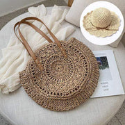 Obangbag Match / Brown Bag 02+White Hat Summer Hand Woven Round Straw Beach Handbag Bohemian Straw Hat