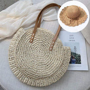 Obangbag Match / White Bag 01+Brown Hat Summer Hand Woven Round Straw Beach Handbag Bohemian Straw Hat