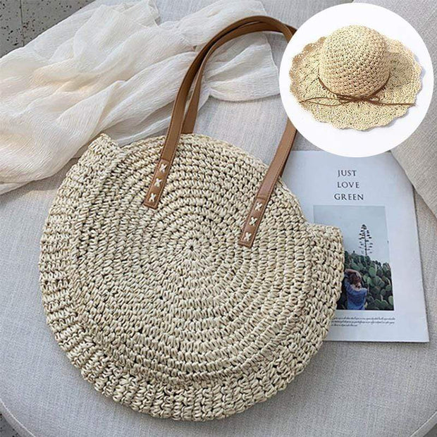 Obangbag Match / White Bag 01+White Hat Summer Hand Woven Round Straw Beach Handbag Bohemian Straw Hat