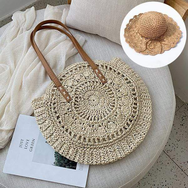 Obangbag Match / White Bag 02+Brown Hat Summer Hand Woven Round Straw Beach Handbag Bohemian Straw Hat