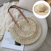 Obangbag Match / White Bag 02+White Hat Summer Hand Woven Round Straw Beach Handbag Bohemian Straw Hat