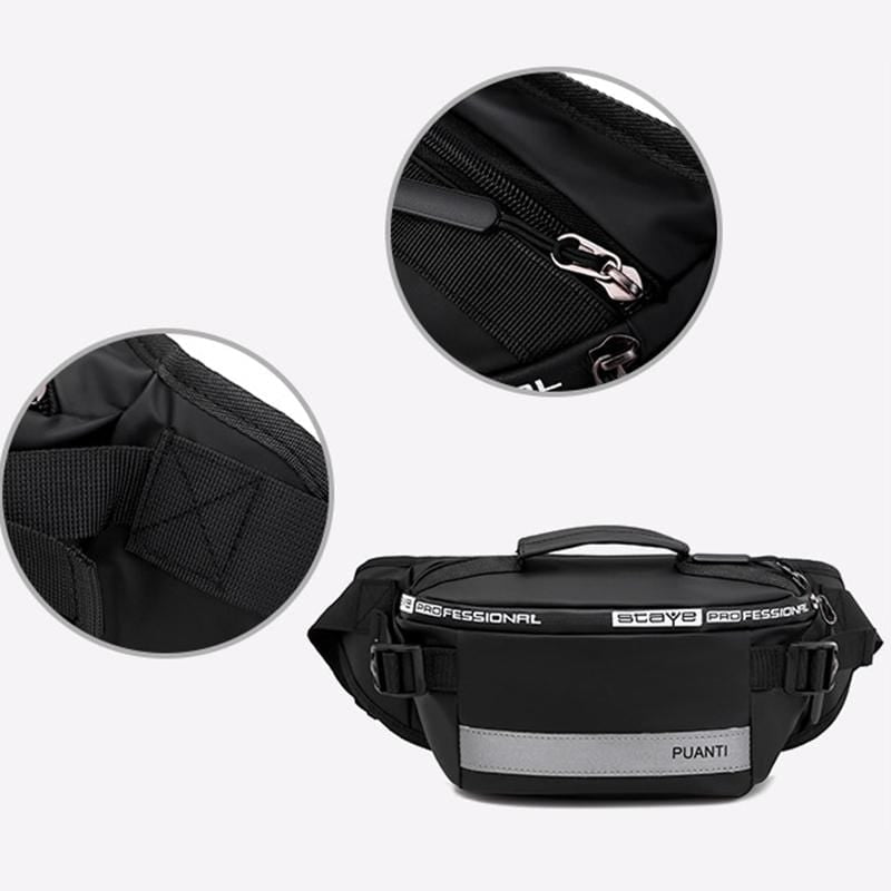 Obangbag Men Chic Daily Multi Layers Multifunction Roomy Nylon Waterproof Fanny Pack Chest Bag Waist Bag