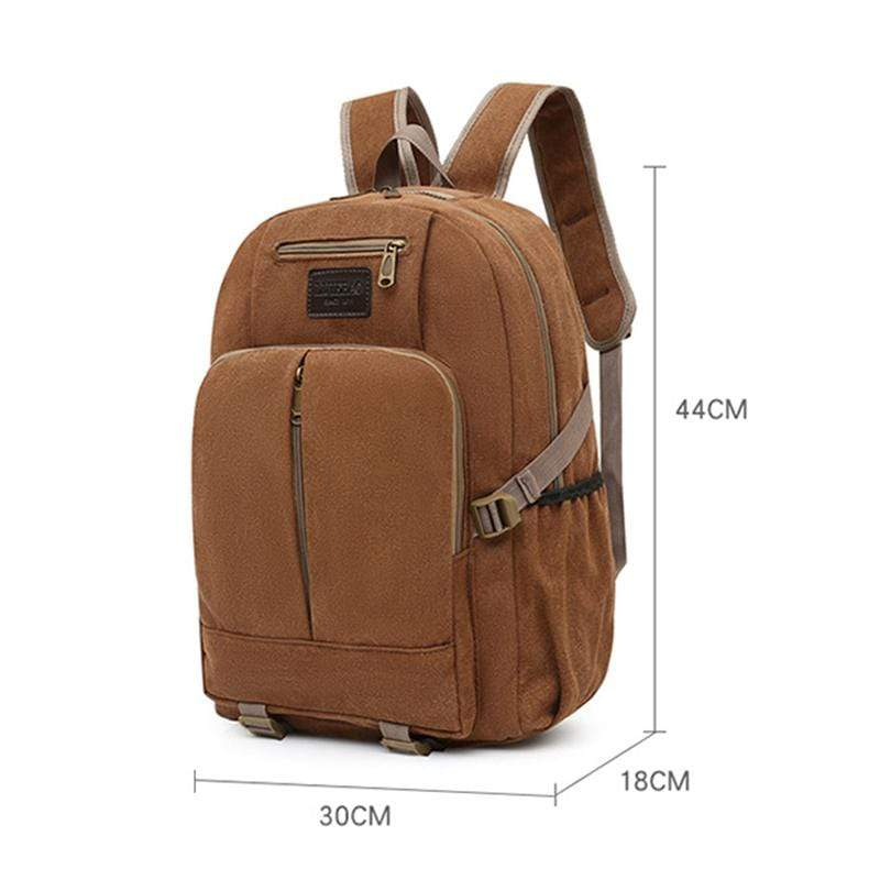Obangbag Men Outdoor Large Capacity Multi Pockets Multifunction Travel Canvas Backpack Bookbag for School