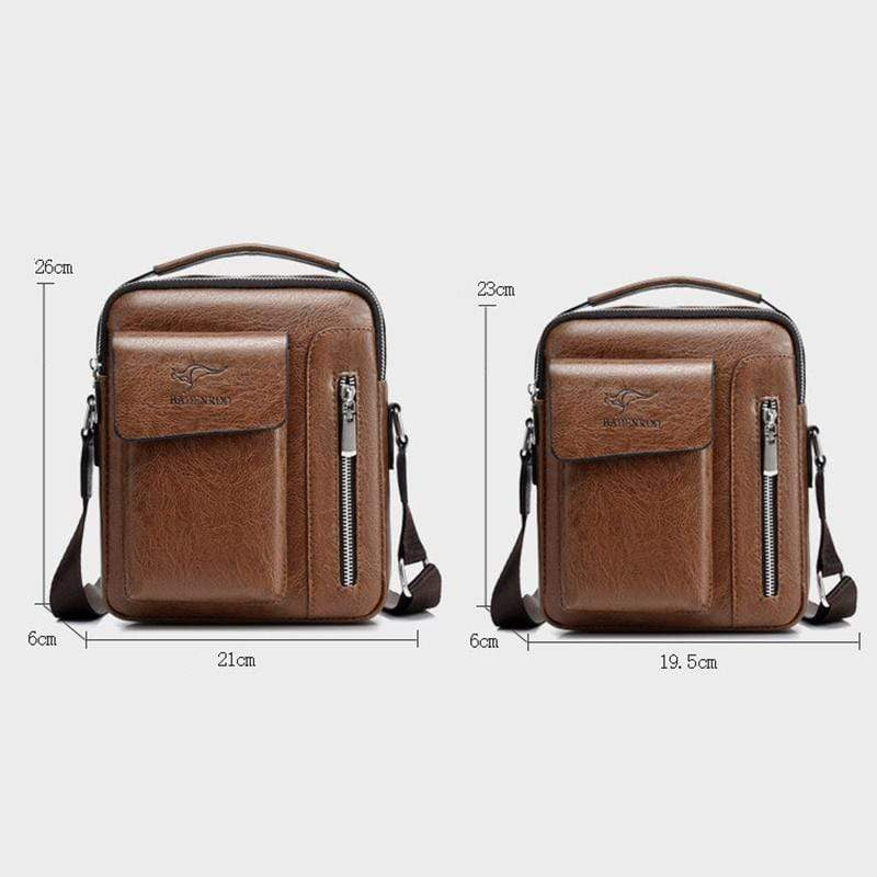 Obangbag Men Retro Multi Pockets Professional Large Capacity Leather Handbag Crossbody Bag for Work
