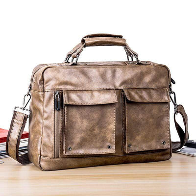 Obangbag Men's Multi Pockets Retro Vintage Handbag Messenger Bag