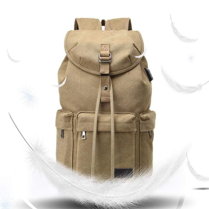 Obangbag Men Simple Big Large Capacity Multi Pockrts Outdoor Daily Canvas Backpack Bookbag