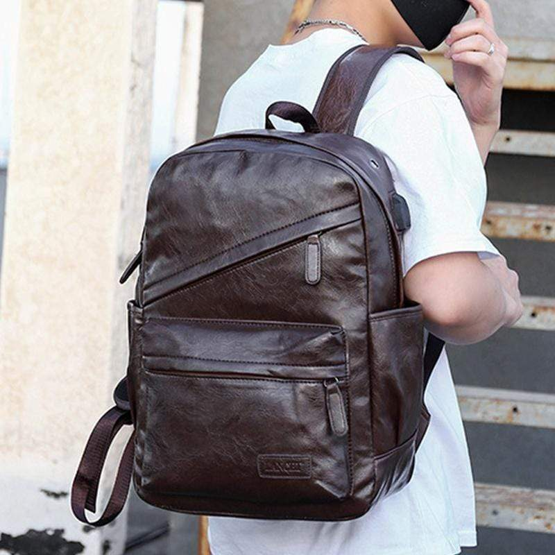 Obangbag Men Vintage Casual Outdoor Sport Roomy Multifunction Leather Backpack Bookbag for School