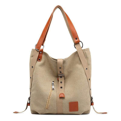 Obangbag Multi Function Contrast Color Large Capacity Canvas Shoulder Bag