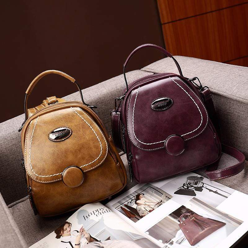 Obangbag Multi Function Multi Pockets Women Small Retro Leather Backpack