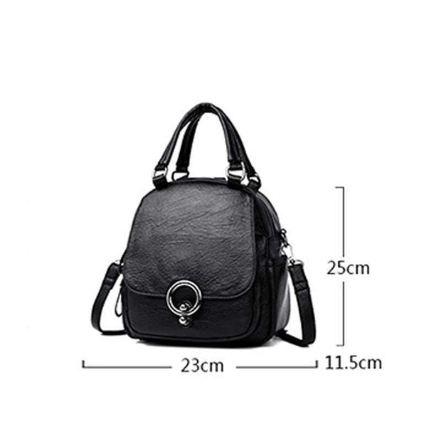 Obangbag Multi Function Soft Leather Classical Retro Vintage Backpack Travel Bag Crossbody Bag