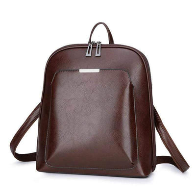 Obangbag Multi Pockets Retro Vintage Oil Wax Leather Women Travel Computer Laptop Large Backpack