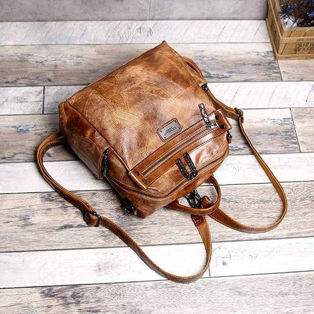 Obangbag Multi Purpose Retro Oil Wax Leather Vintage Backpack Shoulder Bag