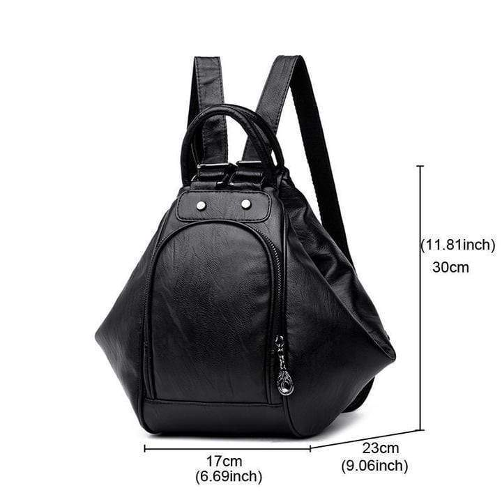 Obangbag Multifunction Women Leather Backpack Large Capacity Deformable Stylish Shoulder Bag