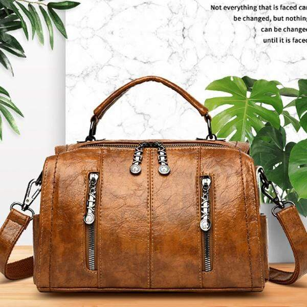 Obangbag Multifunctional School Large Capacity Female Leather Tote Bag Backpack