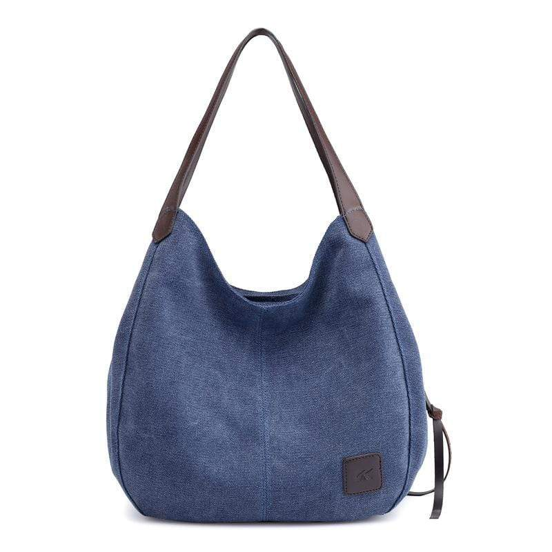 Obangbag Navy Blue Women Chic Vintage Roomy Multi Pockets Canvas Handbag Shoulder Bag