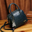 Obangbag Navy Blue Women Retro Vintage Leather Handbag Multi Pockets Shoulder Bag