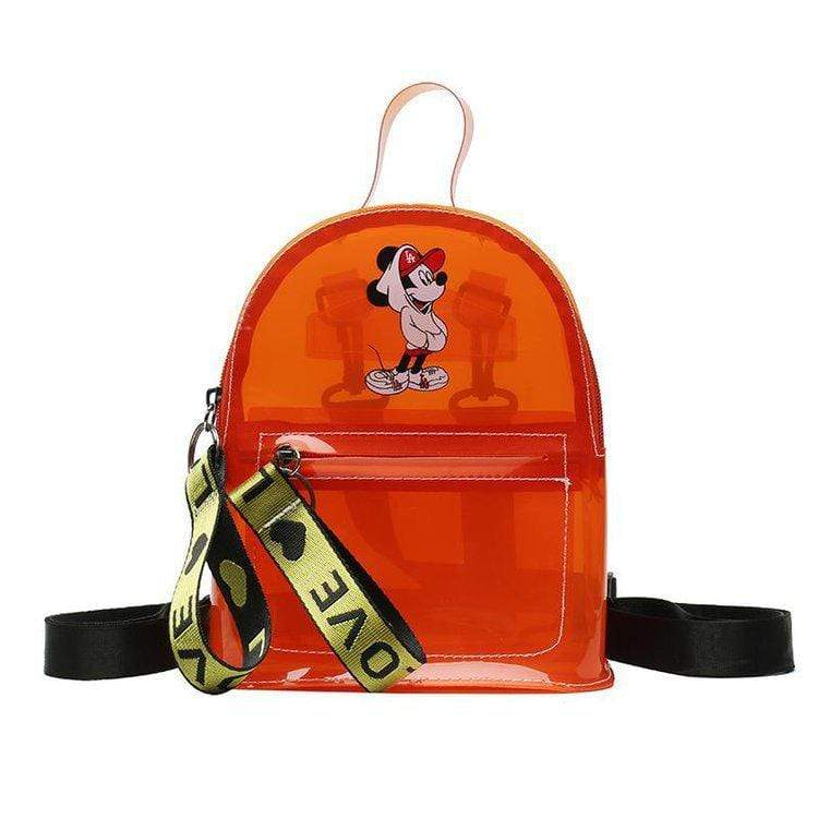 Obangbag Orange Cartoon Printed Unisex Chic Casual Cute Summer Clear Transparent Plastic Backpack for Children