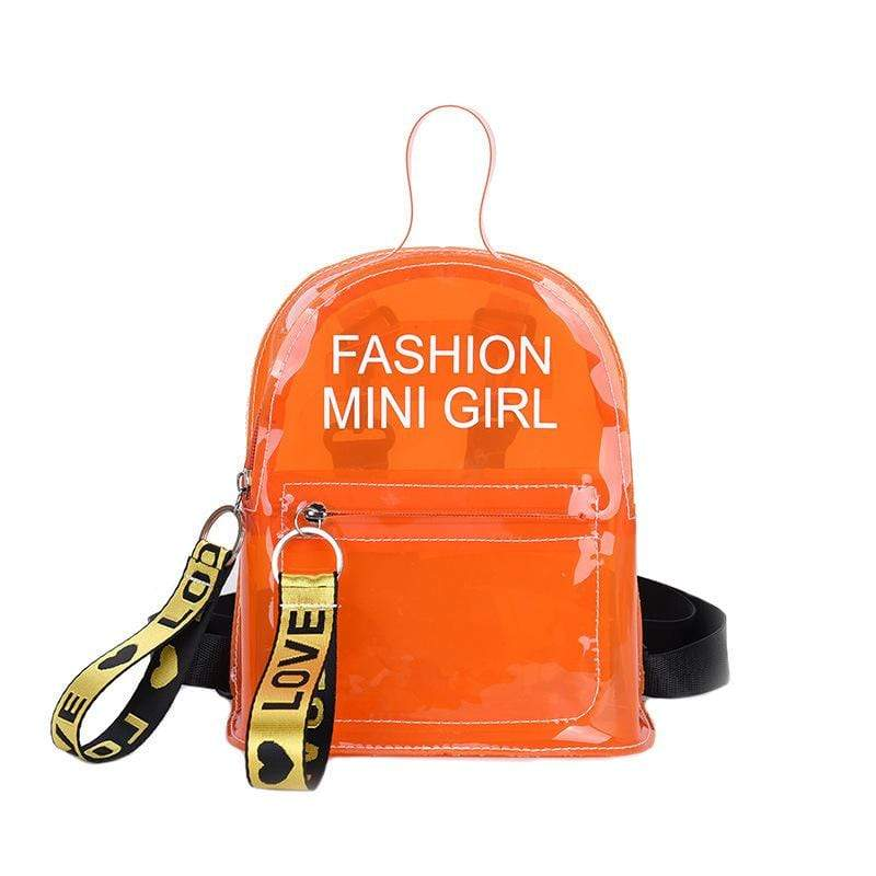 Obangbag Orange Letter Printed Unisex Chic Casual Cute Summer Clear Transparent Plastic Backpack for Children