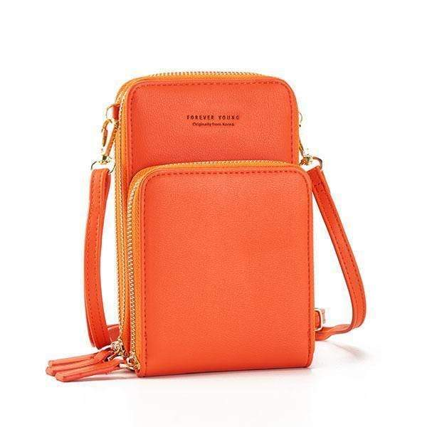 Obangbag Orange Multi-Pocket Multi Layer Mini Crossbody Phone Bag