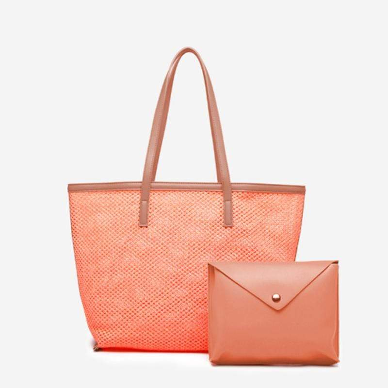 Obangbag Orange Women Chic Big Summer Large Capacity Woven Straw Tote Bag Handbag Bag Set for Travel