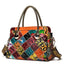 Obangbag Orange Women Chic Street Vintage Roomy Colorful Genuine Leather Handbag Crossbody Bag