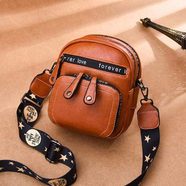 Obangbag Orange Women Retro Mini Cute Stylish PU Leather Crossbody Bag Shoulder Bag