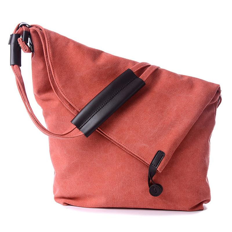 Obangbag Orange Women Vintage Fashion Simple Large Capacity Multifunction Canvas Shoulder Bag Crossbody Bag for School