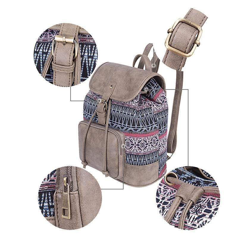 Obangbag Patchwork National String Linen large Pockets Handmade Backpack