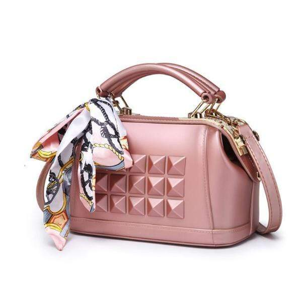 Obangbag Pink 2020 Women's spring and summer fashion frosted one shoulder slant cross jelly bag