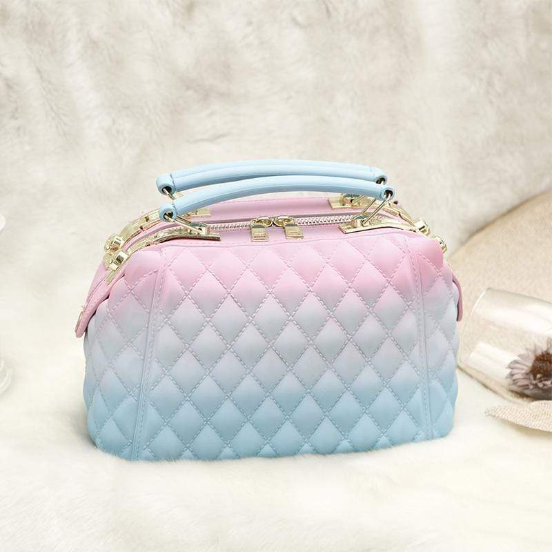Obangbag Pink+Blue Women Stylish Street Large Capacity Roomy Colorful PVC Handbag Jelly Bag