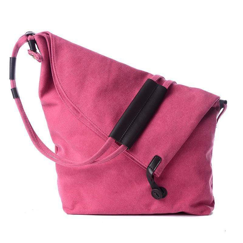 Obangbag Pink Canvas & Leather Large Capacity Lightweight Crossbody Bag