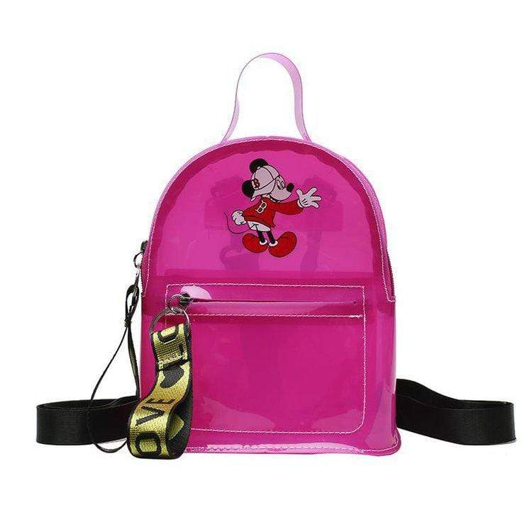 Obangbag Pink Cartoon Printed Unisex Chic Casual Cute Summer Clear Transparent Plastic Backpack for Children