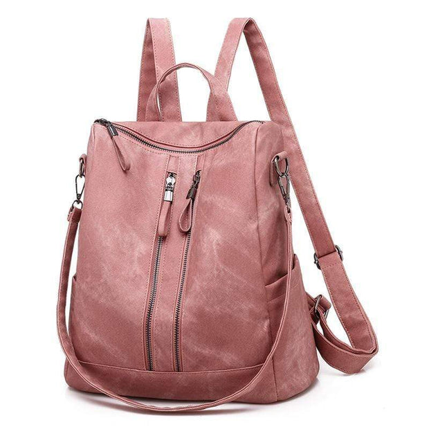 Obangbag Pink Casual Retro Laptop Leather Work Backpack Shoulder Bag