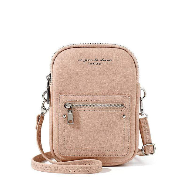 Obangbag Pink Chic Douple Zipper Women Mini Phone Bag Crossbody Bag