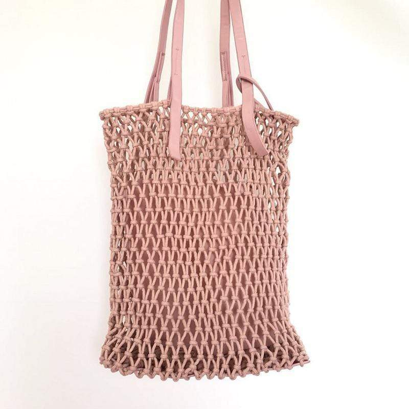 Obangbag pink Ladies Fashion Mesh Straw Rattan Summer Mini Cute Small Beach Bag Handbag