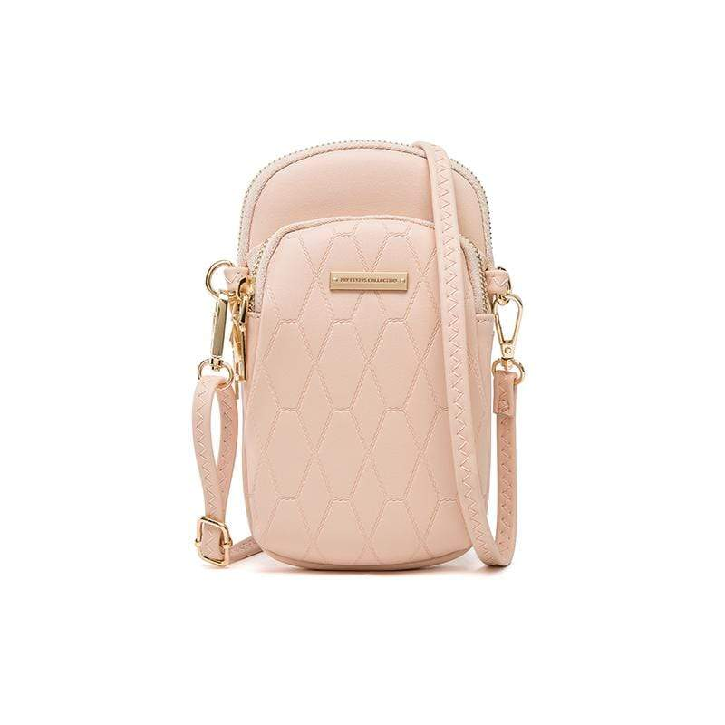 Obangbag Pink Ladies Fashion Mini Leather Crossbody Bag Phone Bag