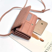 Obangbag Pink Leather Woven Wallet Multi Slot Card Holder Chic Women Shoulder Bag