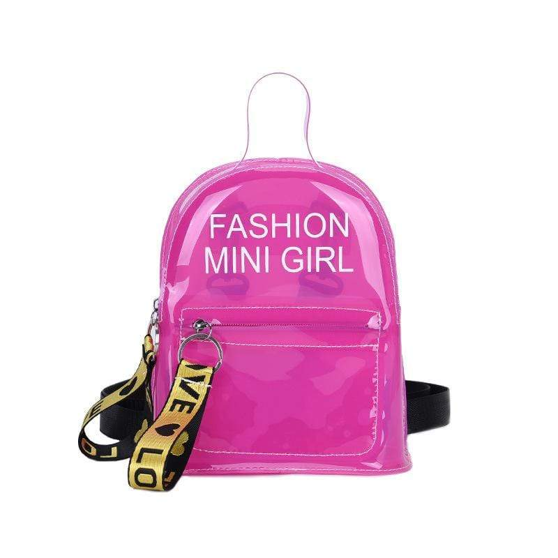 Obangbag Pink Letter Printed Unisex Chic Casual Cute Summer Clear Transparent Plastic Backpack for Children