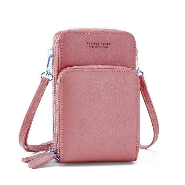 Obangbag Pink Multi-Pocket Multi Layer Mini Crossbody Phone Bag