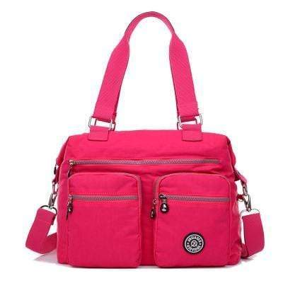 Obangbag Pink Multi Pockets Big Cloth Tote Bag Waterproof Teacher School Shoulder Bag