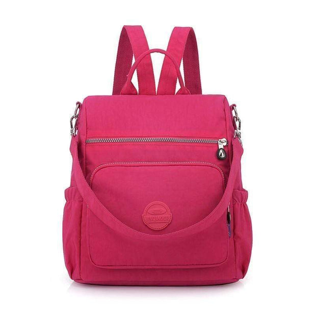Obangbag Pink Multifunctional Ladies Shoulder Bag Wild Travel Waterproof Nylon Large Capacity Backpack