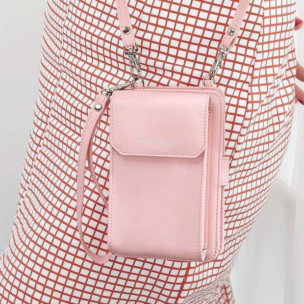 Obangbag Pink Multifunctional Leather Phone Bag Roomy Card Wallet Fashion Shoulder Bag