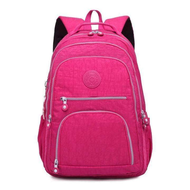 Obangbag Pink Waterproof Travel Backpack Multi Pocket Washed School Bag