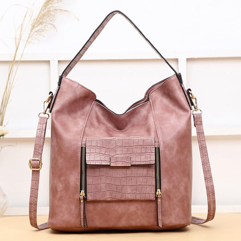 Women Big Stylish Vintage Large Capacity Multi Pockets Leather Shoulder Bag Crossbody Bag