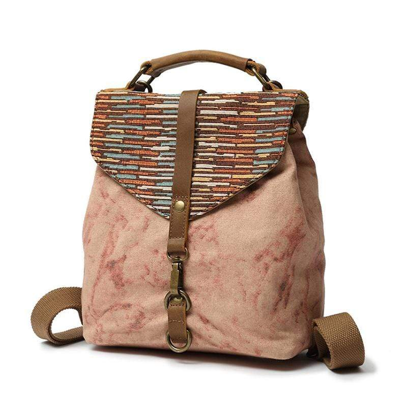 Obangbag Pink Women Bohemia Messenger Bag Retro Vintage Marble Printed Canvas Backpack