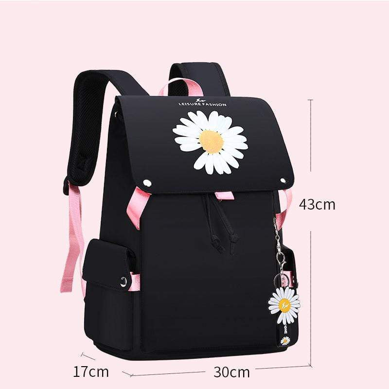 Obangbag Pink Women Casual Large Capacity Waterproof Canvas Backpack Bookbag for School for Travel
