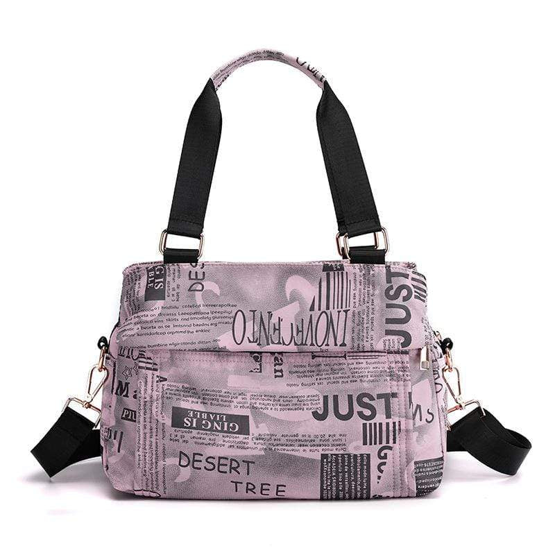 Obangbag Pink Women Chic Fashion Large Capacity Multi Pockets Printed Nylon Handbag Crossbody Bag for Work
