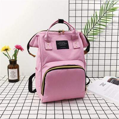 Obangbag Pink Women Chic Large Capacity Multi Pockets Multifunction Nylon Backpack for School for Daily
