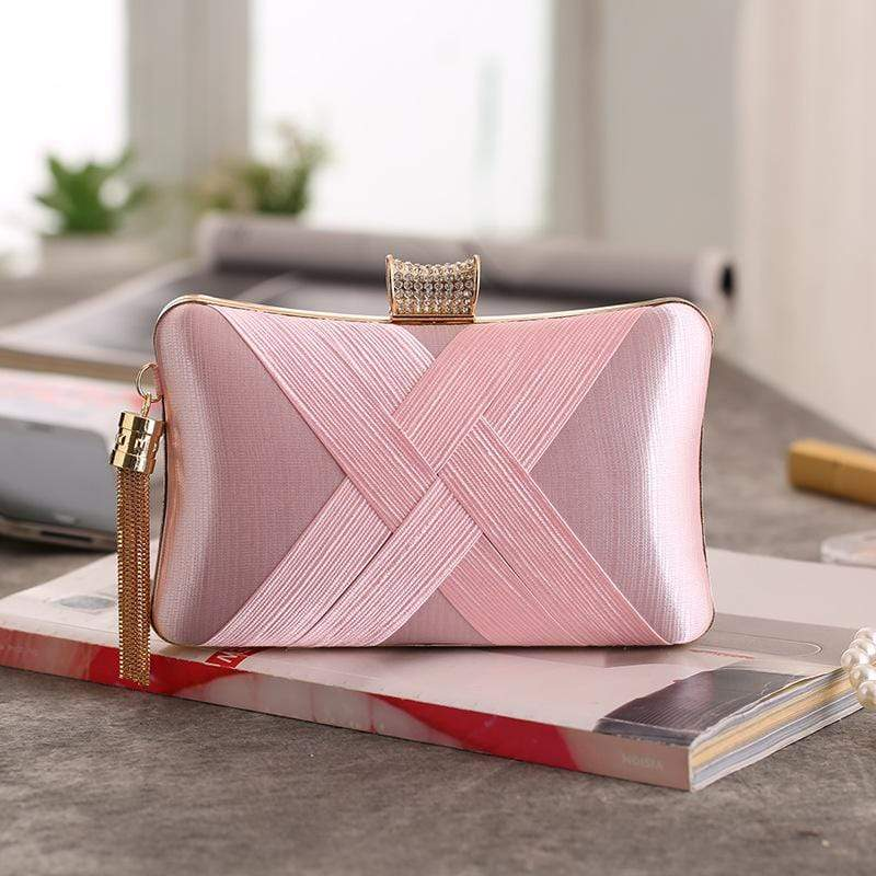 Obangbag Pink Women Chic Stylish Fringed Polyester Evening Purse Clutch Bag